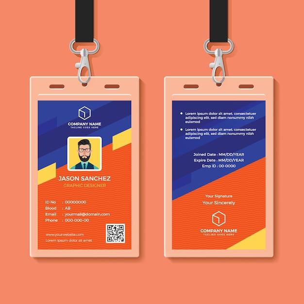 Modern graphic id card design template Premium Vector