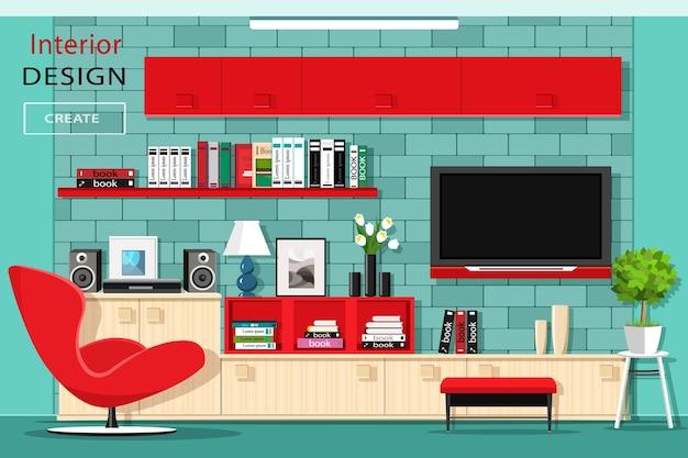 テレビの壁とモダンなグラフィックリビングルームの家具。 Premiumベクター