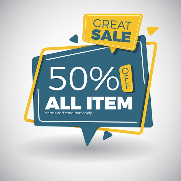 Modern great sale banner design in pop out paper style Premium Vector