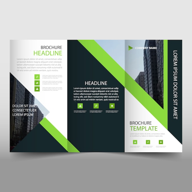 Modern green and black trifold business brochure template for Black brochure template