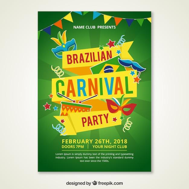 Modern green brazilian carnival poster Free Vector