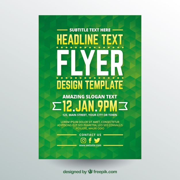Modern green brochure design template Free Vector