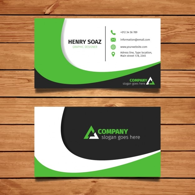 Modern Green Business Card Design Vector Free Download
