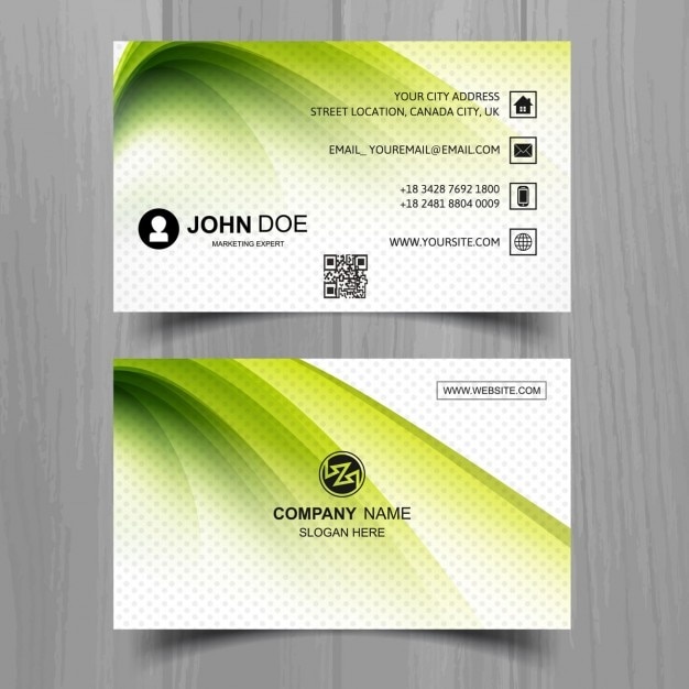 Modern green business card with wavy shapes vector free download modern green business card with wavy shapes free vector reheart Images