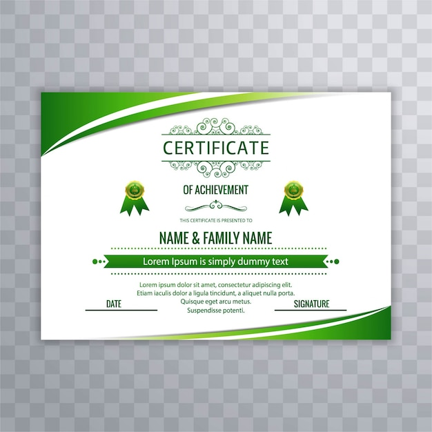 Modern Green Certificate Design Vector Free Download