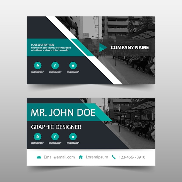 Modern green corporate business card Free Vector