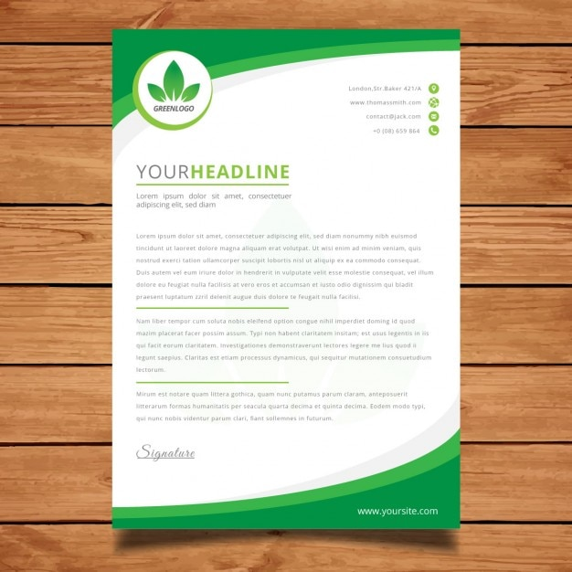 modern green corporate letterhead free vector