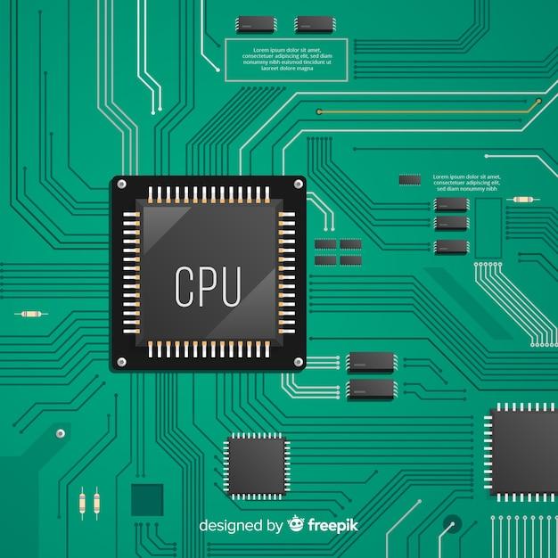 Modern green cpu background Free Vector