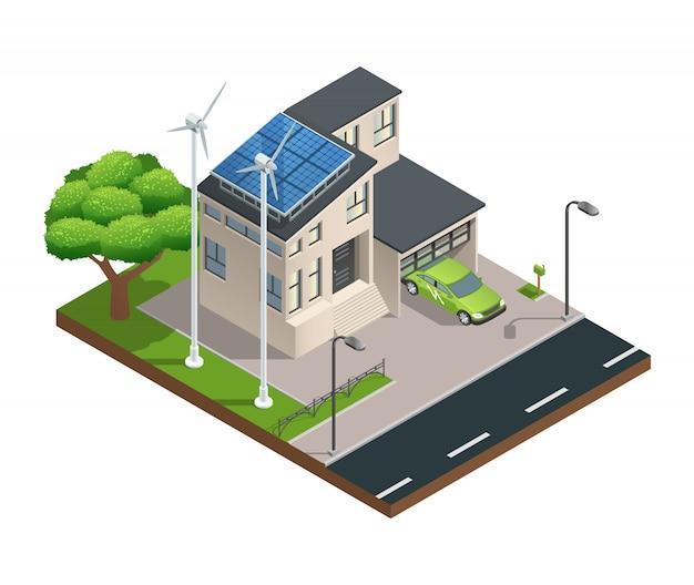 屋根の上で電気を生産するガレージ芝生太陽電池パネルとモダンなグリーンエコハウス 無料ベクター