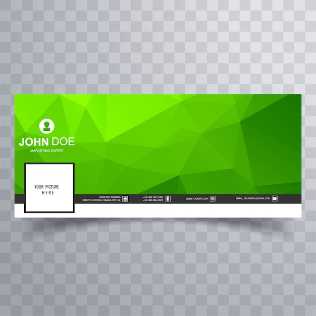 Modern green geometric polygon facebook timeline banner Free Vector