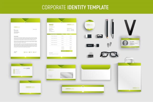 Профессиональный набор канцелярских принадлежностей modern green Premium векторы