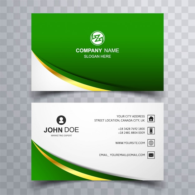 Modern green wave business card vector free download modern green wave business card free vector reheart Images