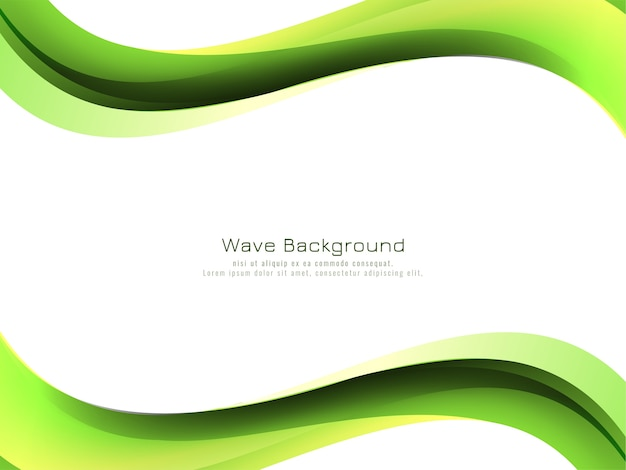 Modern green wave style background design vector Free Vector