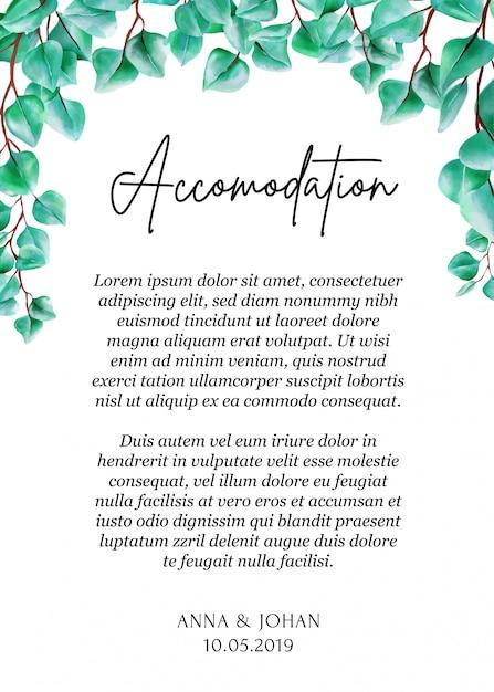 Modern greenery eucalyptus leaf accommodation card. Premium Vector