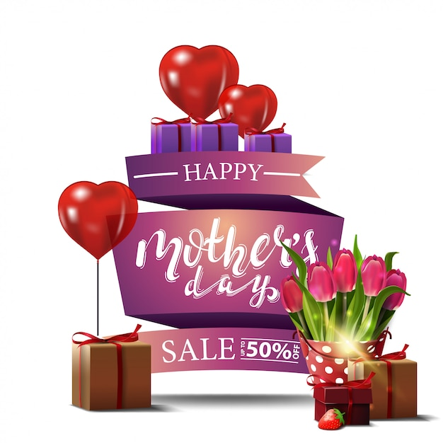 Modern greeting card for mother's day Premium Vector