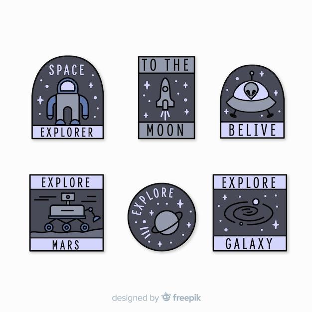 Современная коллекция серых космических стикеров Бесплатные векторы