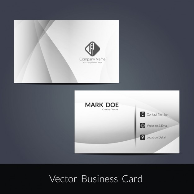 Modern grey wave business card