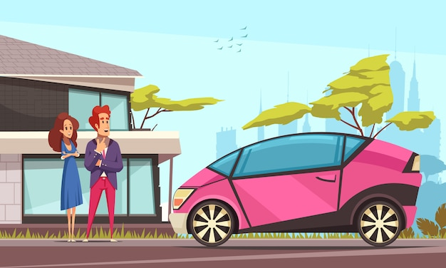 Modern ground transportation young couple near house and pink car parked on street cartoon Free Vector