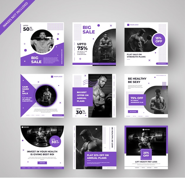 Modern gym ad banners collection for social media & digital marketing Premium Vector