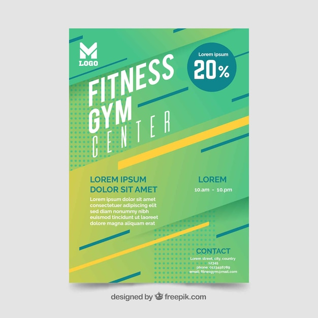 Modern gym flyer template with abstract design Free Vector