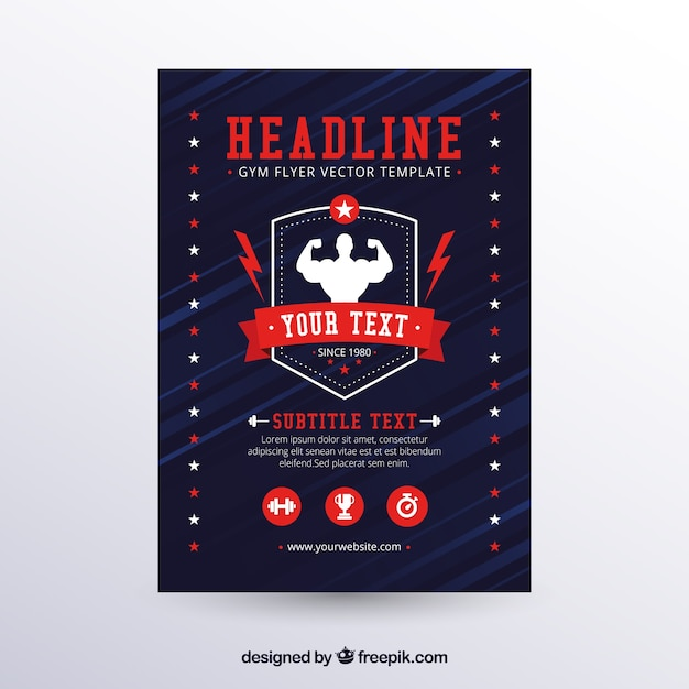 Modern gym flyer template with flat design Free Vector