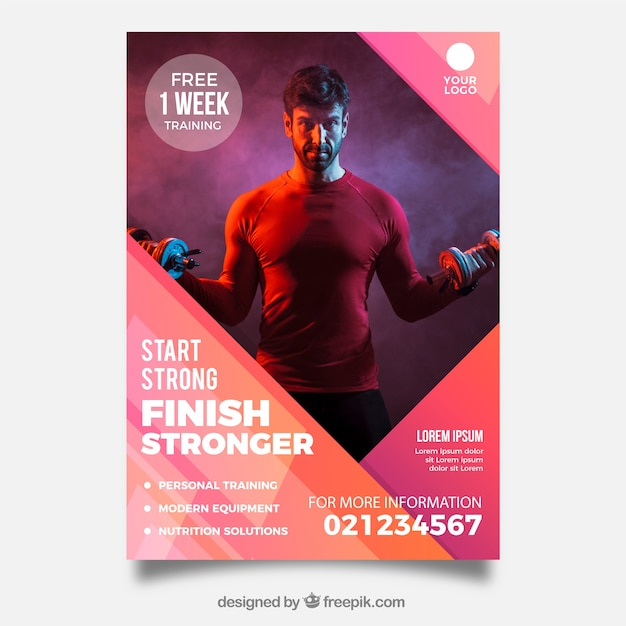 Modern gym flyer template with image Free Vector