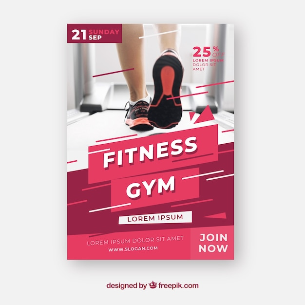 Modern gym flyer template with photo Free Vector