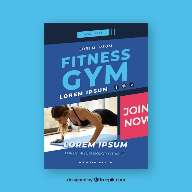 modern gym flyer template with photo vector free download