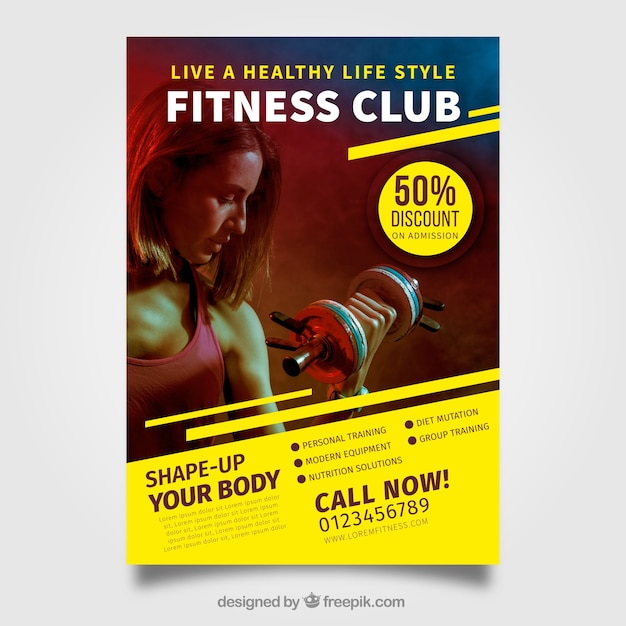 modern gym flyer template vector free download