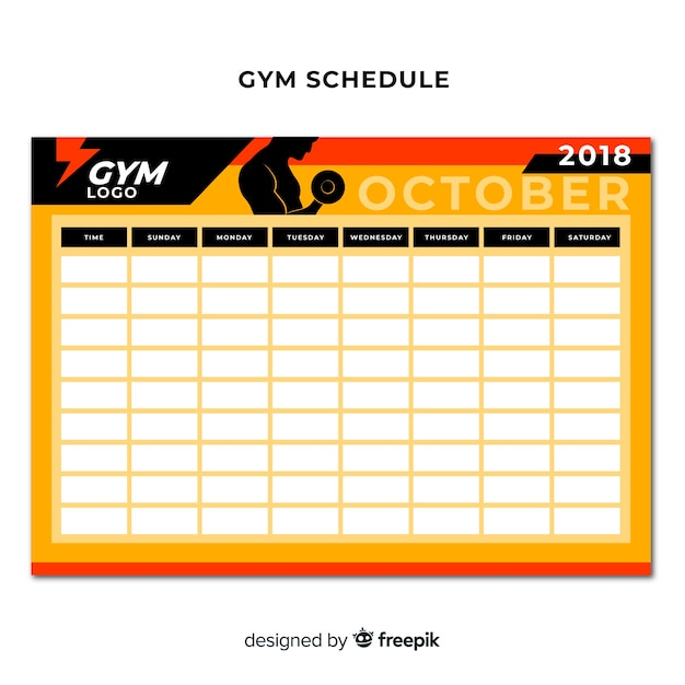 Modern gym schedule template with flat design Free Vector