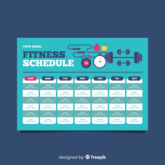 modern gym schedule template with flat design vector