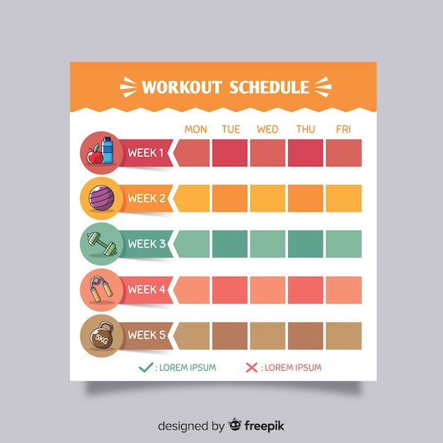 Modern gym weekly schedule with flat design Free Vector