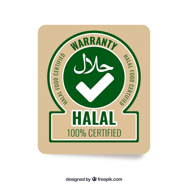 Modern halal stamp with flat design Free Vector