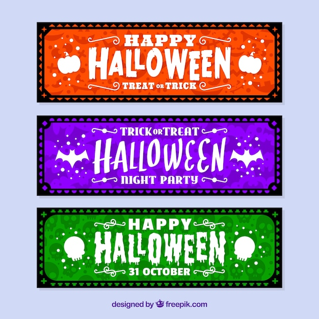 Modern halloween banner collection Free Vector