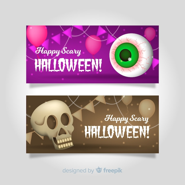 Modern halloween banners with realistic design Free Vector