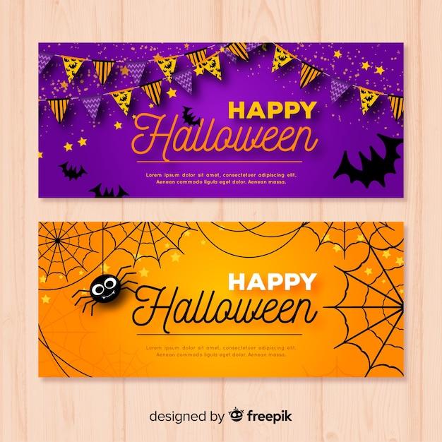 Modern halloween banners Free Vector