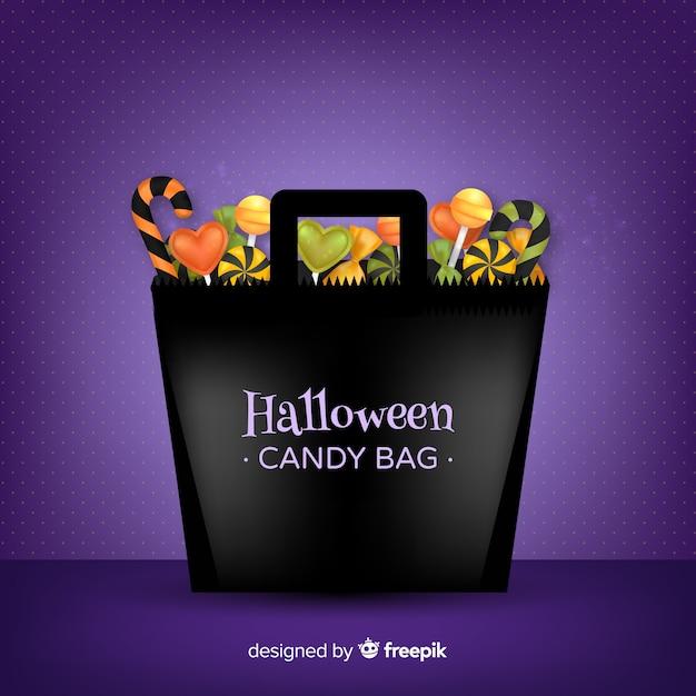 Modern halloween candy bag background Free Vector