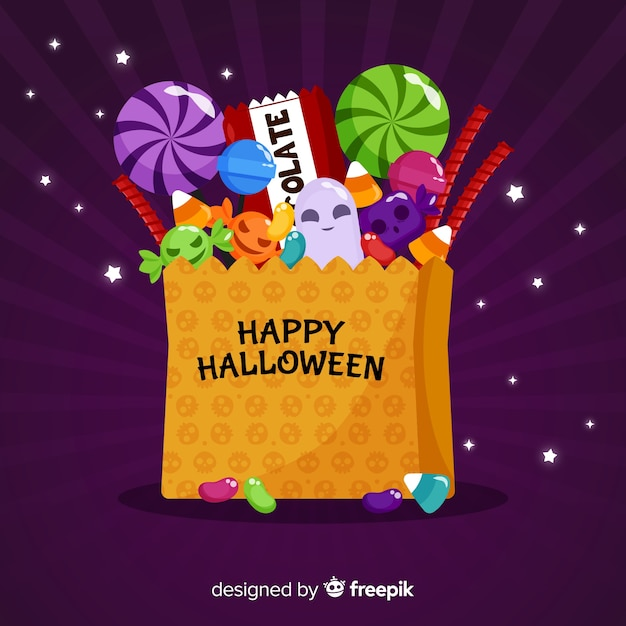 Modern halloween candy bag background Free Vector