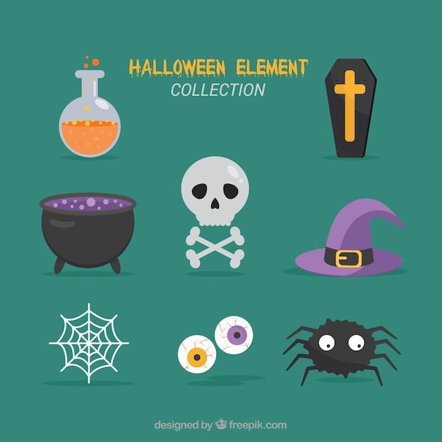 Modern halloween element collection Free Vector