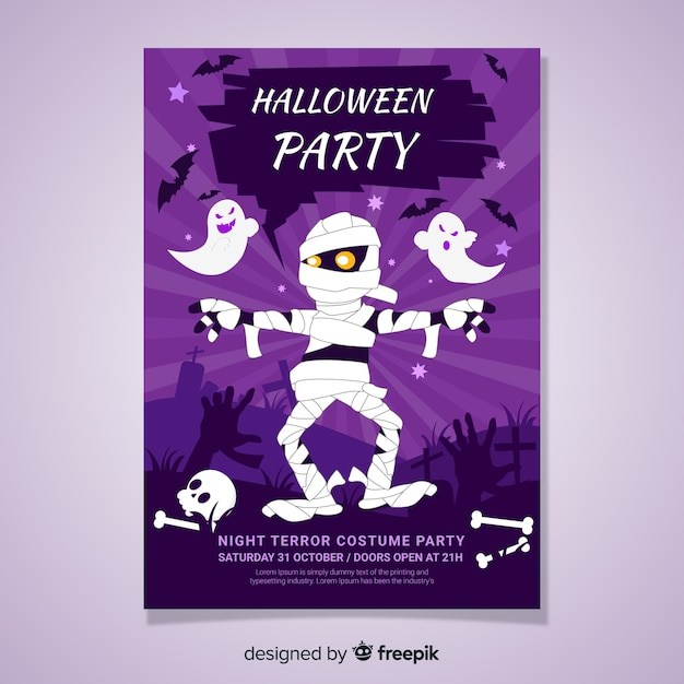 Modern halloween party poster template with flat design Free Vector