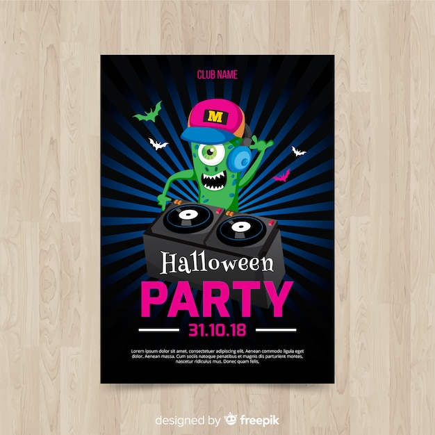 Modern halloween party poster with flat design Free Vector