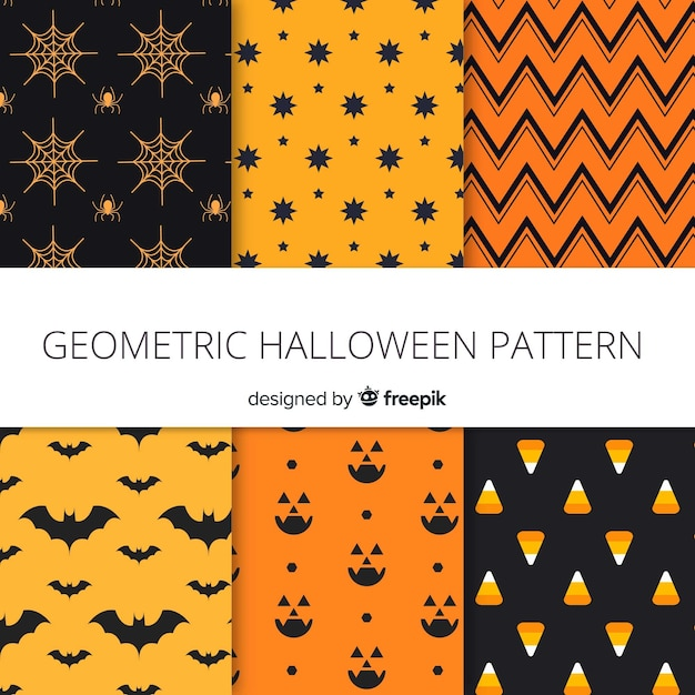 Modern halloween pattern collection Free Vector