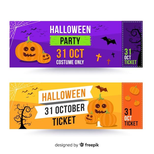 Modern halloween ticket template Free Vector