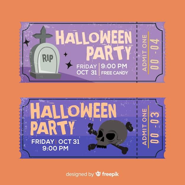 Concetto moderno di biglietti di halloween Vettore gratuito