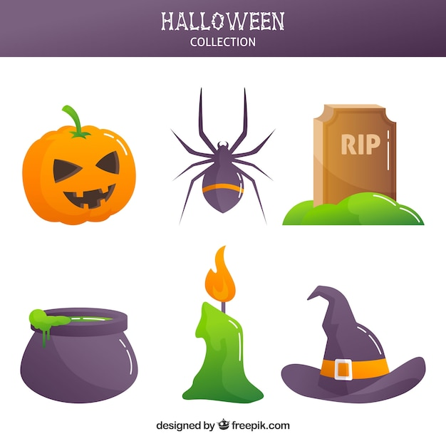 Modern halloween variety with flat design
