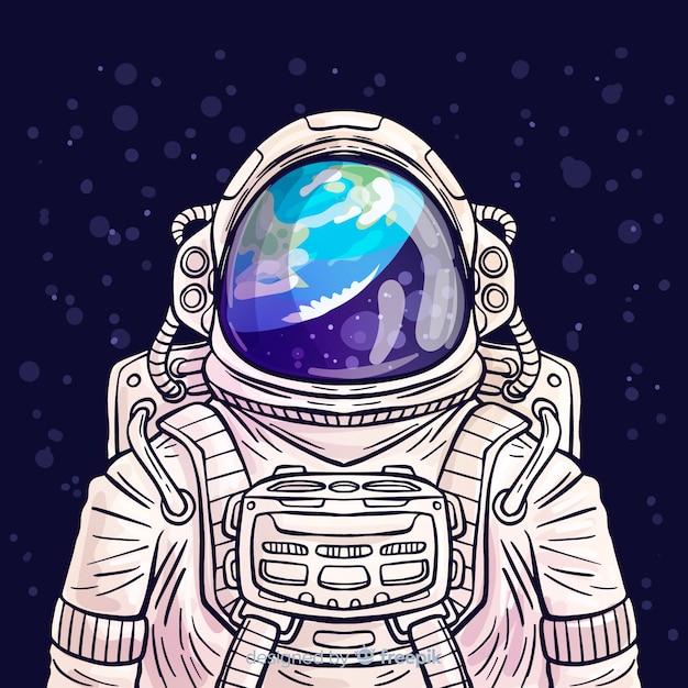 Modern hand drawn astronaut character Free Vector