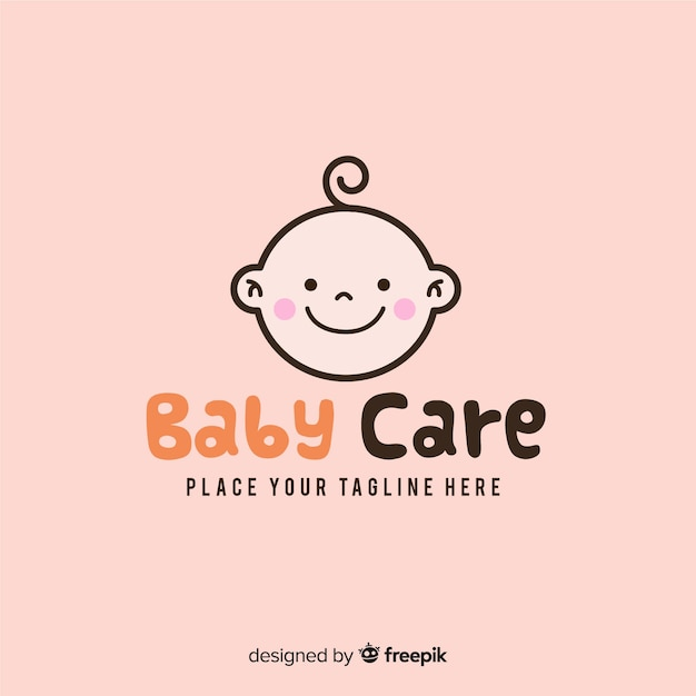 Modern hand drawn baby logo template Free Vector