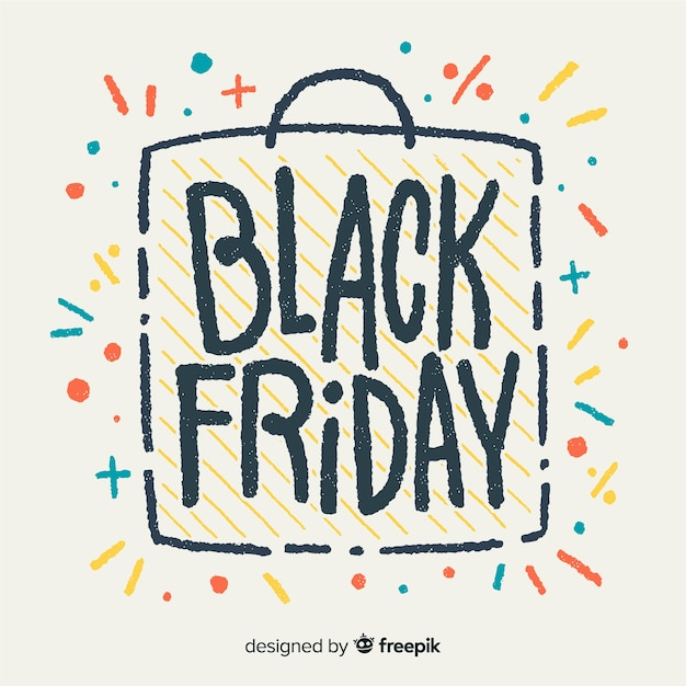 Modern hand drawn black friday composition Free Vector