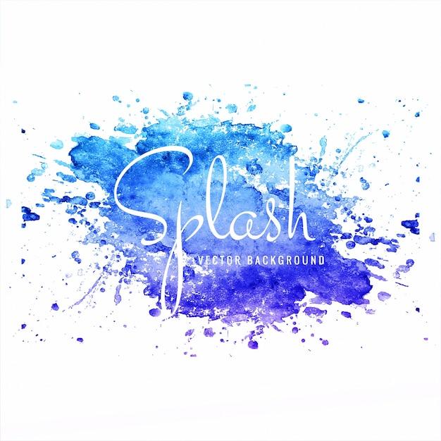 Modern hand drawn blue watercolor splash background vector Free Vector
