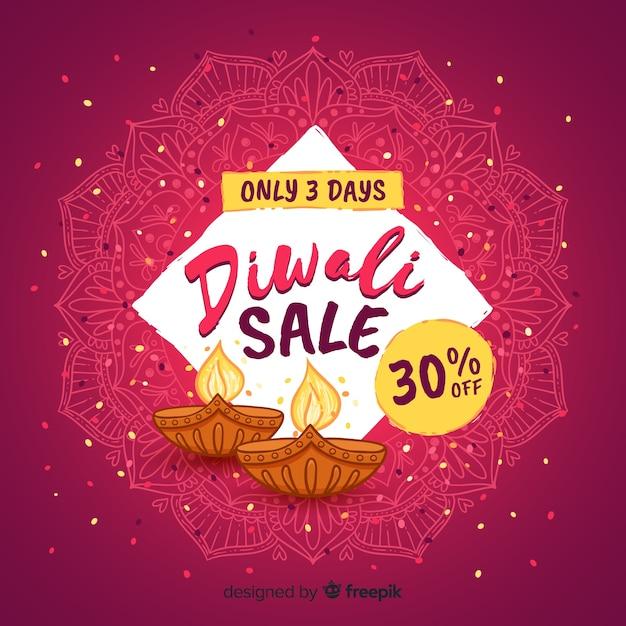 Modern hand drawn diwali sale composition Free Vector